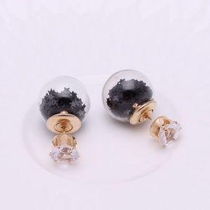 Double Sided Big Glass Black Star Stud Earrings ❤️